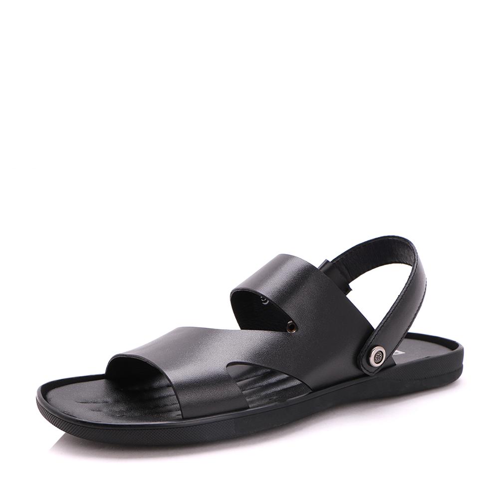 Belle/百丽2017夏季黑色舒适平跟牛皮男凉鞋23501BL7