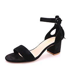 Belle/百丽2017夏黑色优雅时尚一字型搭扣羊皮女凉鞋30201BL7