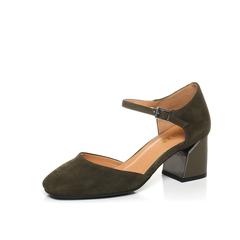 Belle/百丽春季专柜同款墨绿羊绒皮女凉鞋BOM32AK7