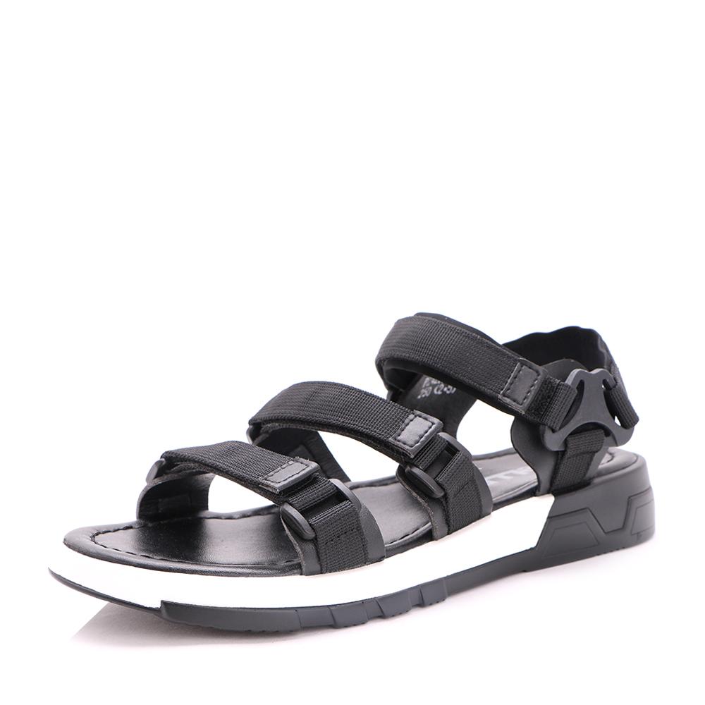 Belle/百丽2017夏季黑色织物露趾运动风男凉鞋42101BL7