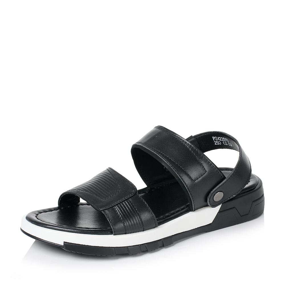 Belle/百丽2017夏季黑色牛皮露趾简约休闲男凉鞋42201BL7