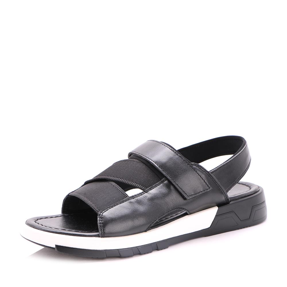 Belle/百丽2017夏季黑色牛皮时尚休闲沙滩鞋男凉鞋42302BL7