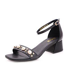 Belle/百丽2017夏黑色时尚珍珠牛皮露趾女凉鞋35701BL7