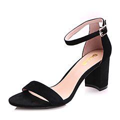 Belle/百丽2017夏黑色简约大方一字带羊绒皮露趾女凉鞋17111BL7
