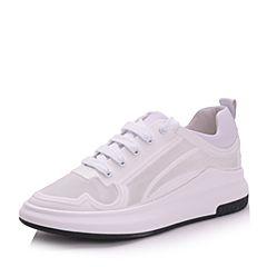 Belle/百丽夏白色时尚轻运动风合成革/滴胶女休闲鞋36602AM7
