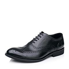 Belle/百丽2017春季黑色商务正装牛皮布洛克鞋男皮鞋53103AM7