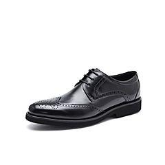 Belle/百麗秋季專柜同款黑色牛皮商務正裝布洛克鞋男皮鞋4ZJ01CM7