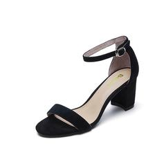 Belle/百丽夏季专柜同款黑色羊绒皮女皮凉鞋R5F1DBL7(领红包更优惠)