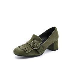 Belle/百丽秋季专柜同款墨绿色羊绒皮粗跟女单鞋BOS23CM7