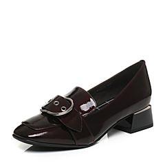 Belle/百丽秋季啡红色荔纹漆皮牛皮女单鞋BNX23CM7