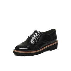 Belle/百丽2017秋季新品专柜同款黑色漆皮牛皮女单鞋BTH26CM7