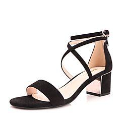 Belle/百丽2017夏黑色时尚交叉带羊绒皮粗跟女凉鞋BLAB2BL7