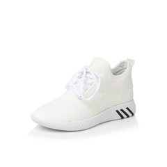 Belle/百丽秋季专柜同款白色弹力布/滴胶/TPU运动风女休闲鞋R6T1DCM7