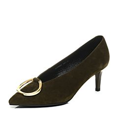 Belle/百丽秋绿色优雅时尚羊绒皮金属大环扣女单鞋09001CQ7