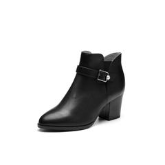 Belle/百丽2017冬季新品专柜同款黑色油皮牛皮女短靴BLDE6DD7