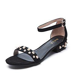 Belle/百丽夏季专柜同款黑色羊绒皮革女皮凉鞋R5Q1DBL7