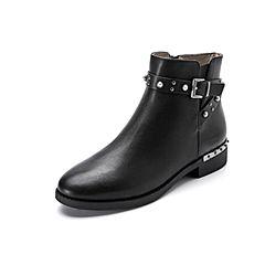 Belle/百丽冬季专柜同款黑色油皮牛皮女短靴3C3W3DD7