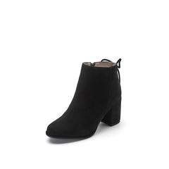 Belle/百丽2017冬季新品专柜同款浅黑羊绒皮革女皮靴BXJ43DD7