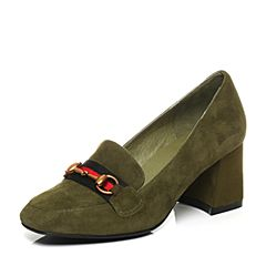 Belle/百丽秋绿色优雅大方羊皮绒面马衔扣乐福鞋女单鞋28351CQ7