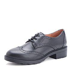 Belle/百丽秋黑色英伦羊皮女单鞋3502DCM7