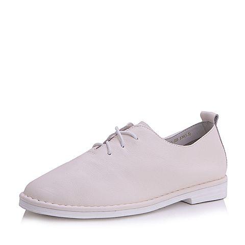 Belle/百丽秋白色时尚简约小白鞋牛皮女休闲鞋861-2CM7