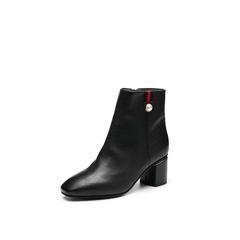 Belle/百丽2017冬季新品专柜同款黑色摔纹油皮小牛皮女中靴BAA60DZ7