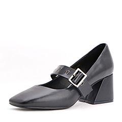 Belle/百丽2017秋季新品黑色牛皮/羊皮玛丽珍鞋一字扣带复古方头女单鞋17066CQ7