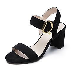 Belle/百丽夏季专柜同款黑色羊绒皮革女皮凉鞋BPFA9BL7