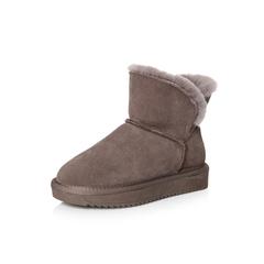 Belle/百丽冬季专柜同款浅紫牛剖层皮革女皮靴R6Q1DDD7