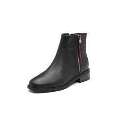 Belle/百丽2017冬季新品专柜同款摔纹油蜡小牛皮女短靴(绒里)BQV44DD7