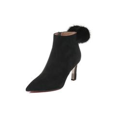 Belle/百丽2017冬黑色优雅时尚羊绒皮女短靴BZF41DD7