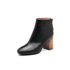 Belle/百丽2017冬季新品专柜同款黑色油皮牛皮女短靴BVL58DD7