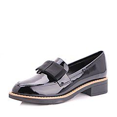 Belle/百丽2017新款秋季黑色时尚英伦牛漆皮革女皮鞋931-1CM7