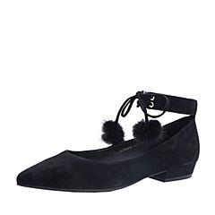 Belle/百丽2017秋黑色时尚绑带羊绒皮尖头浅口女单鞋55023CQ7