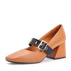 Belle/百丽秋季棕/黑牛皮玛丽珍鞋一字扣带复古方头女单鞋17066CQ7