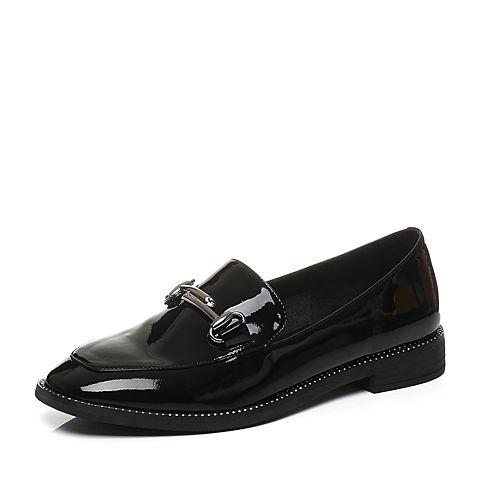 Belle/百丽秋季黑色时尚英伦漆皮牛皮革女皮鞋BLND1CM7