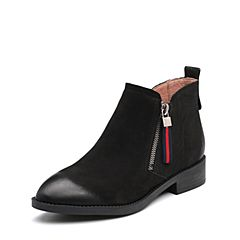 Belle/百丽2017冬季新品专柜同款黑色珠光磨砂牛皮女短靴BPB45DD7