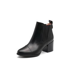 Belle/百丽2017冬季新品专柜同款黑色油皮牛皮女短靴BRB46DD7
