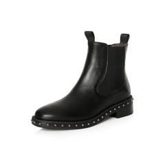 Belle/百丽2017冬季新品专柜同款黑色油皮牛皮女短靴切尔西靴BQV57DD7