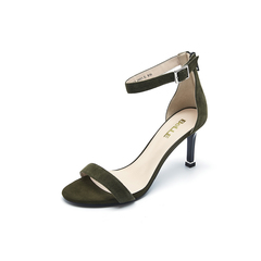 Belle/百丽夏专柜同款墨绿羊绒皮革女皮凉鞋BLWA5BL7