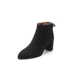 Belle/百丽2017冬季新品专柜同款黑色羊绒皮女短靴BRY41DD7