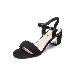 Belle/百丽夏季专柜同款黑色羊绒皮革女皮凉鞋BLA30BL7