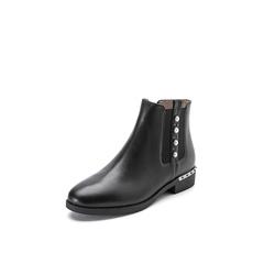 Belle/百丽2017冬季新品专柜同款黑色油皮牛皮女短靴切尔西靴3C3X8DD7