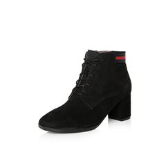 Belle/百丽2017冬季新品专柜同款黑色羊绒皮女短靴BQW40DD7