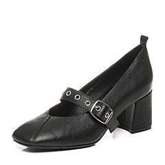 Belle/百丽2017秋季新款黑色牛皮玛丽珍鞋一字扣带粗高跟方头女单鞋108-6CQ7