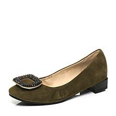Belle/百丽2017新款秋季卡其绿舒适百搭羊绒皮革女休闲鞋33921CQ7
