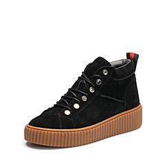 Belle/百丽2017冬季新品专柜同款黑色二层牛皮女短靴BZL40DD7