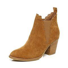 Belle/百丽2017冬新品棕色简约羊绒皮女短靴38505CD7