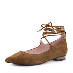 Belle/百丽2017秋绿色时尚绑带羊绒皮/纺织品尖头女单鞋16162CQ7