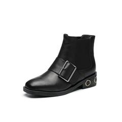 Belle/百丽2017冬季新品专柜同款黑色摔纹油蜡小牛皮女短靴BQV55DD7